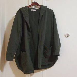 Loft Olive Green Fleece lined open sweater/sweatsh